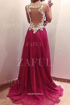 Floral Lace Splicing Backless Sleeveless Dress WINE RED: Maxi Dresses | ZAFUL