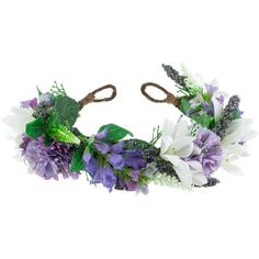 VIOLET Floral Meadow Crown Headband ($58) ❤ liked on Polyvore featuring accessories, hair accessories, headbands, flower crown, hair, bridal flower crown, boho flower headband, vintage bridal headbands, flower crown headband and boho headbands
