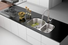 Ruvati Varna 32 L x 21 W Double Basin Undermount Kitchen Sink Ruvati Blocked Kitchen Sink, Double Bowl Kitchen Sink, Farmhouse Sink Kitchen, Glass Backsplash Kitchen, Kitchen Paint, Kitchen Countertops, Kitchen Decor Themes, Kitchen Colors, Sink Repair
