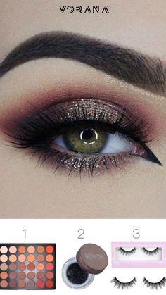 1.Morphe – 35 Color Matte Nature Glow Eyeshadow Palette 350M 2.Girlactik – Sparkle Set – Midnight Black 3.House of Lashes – Featherette