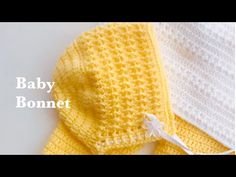 Easy crochet baby bonnet, crochet cap or hat months / How to crochet / Crochet for Baby Baby Bonnet Pattern Free, Baby Hat Knitting Pattern, Baby Hat Patterns, Baby Knitting, Easy Patterns, Beanie Pattern, Crochet Baby Pants, Crochet Baby Sweaters, Baby Girl Crochet