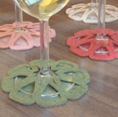Citrus Slip-on Coasters in Pink and Green - set of 6. $24.00, via Etsy.