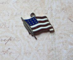 Vintage Enameled American Flag Charm Sterling by MiladyLinden