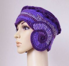 Purple lavender and gray cloche beanie hat by MinnaMatildaDesigns, £40.00