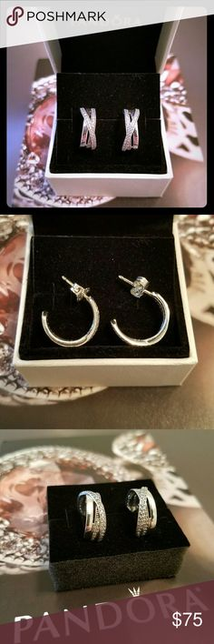Half Hoop Earrings Simply stunning, these half hoop earrings feature a mixture of smooth sterling silver and stone-embellished strands. Never worn. Pandora Jewelry Earrings