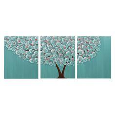 Vivero arte niña árbol pintura sobre lienzo Triptico por Amborela
