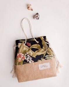 Borsa da spiaggia Tropical Black / Palm stampa iuta Tote / il sacchetto di sabbia