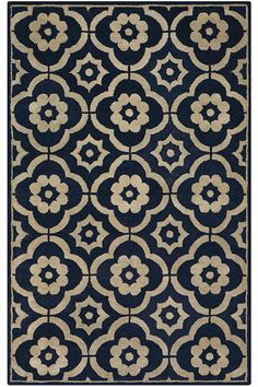 blue // white area rug