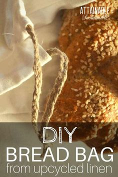 Wondering how to keep bread fresh? Here's how to store homemade bread in DIY linen bread bags so it lasts longer. You can make a bag from thrifted linen in 15 minutes! You'll never wonder how to keep bread fresh again.