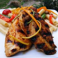 "San Diego Grilled Chicken | ""This is a Southern California version of sweet and sour chicken, marinated and grilled with a little extra spice. Great for all barbeque lovers. Serve with with fresh cilantro, homemade salsa, guacamole, black beans, and flour tortillas warmed on the grill."""