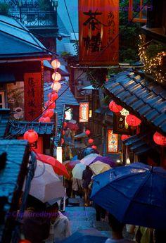 Umbrellas Descend a Mountain Top Market - Jiu Feng, Taiwan - Fine Art Photographic Print on Etsy, $24.00