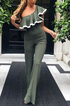 1a94292cd7a2a Army Green One Shoulder Frill Layered Design Jumpsuit - US 23.95 -YOINS  Playsuit