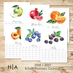 2016 + 2017 Watercolor fruit calendar is perfect for the fruit-lover friend, family member, or yourself. The months features a different watercolor fruit for each month and is incredibly easy to print at home!  This listing is for an INSTANT DOWNLOAD of 2 folders with JPEG files for easy printing. 2016 file: 6 pages (July - December 2016) 2017 file: 13 pages (cover page, 12 month pages)  PLEASE READ: -------------------------- Dimensions & Colors: -------------------------- - 8.5x11 - Colors…