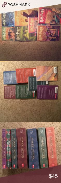 Harry Potter Book Set 1-7 All 7 Harry Potter Books, only books 1 and 2 were read.  3-7 were never touched, perfect condition.  Book 2 has a few small creases in the front cover as seen in the last picture.  Book one looks like it's never been opened.  Comments and questions welcomed!! Other
