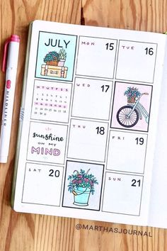 Want to change up the look of your bujo weekly spread and need some ideas to get started! check out these adorable July examples for inspiration to make yours perfect! Bullet Journal Lettering Ideas, Bullet Journal Banner, Bullet Journal Notebook, Bullet Journal School, Bullet Journal Spread, Bullet Journal Ideas Pages, Bullet Journal Layout, Bullet Journal Inspiration, Filofax Diy