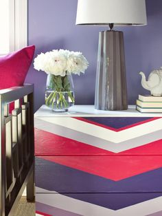 Try a Custom Chevron Dresser Give a basic chest of drawers designer flair with a painted chevron pattern in hues of Radiant Orchid, fuschia and lavender. Try ADS Creative Concepts Eco painted panels and furniture. Furniture Makeover, Diy Furniture, Dresser Makeovers, Dresser Remodel, Diy Dressers, Modern Furniture, Chevron Dresser, Striped Dresser, Do It Yourself Design
