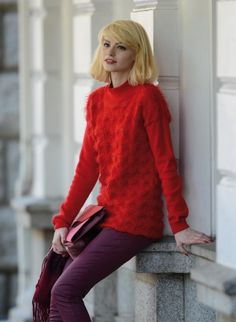 inédit n° 10 - Pull Tricothèque, broderie & tricot - Red texture blocked sweater FREE pattern in French (hva)