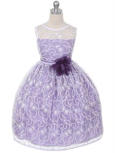 Lilac Lace Overlay Flower Girl Dress with Matching Flower
