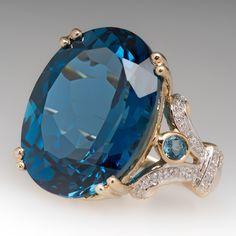 20 Carat Blue Topaz & Diamond Cocktail Ring In 14k Gold   $1450