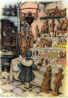 Anton Pieck was a Dutch painter and graphic artist. The work of Anton Pieck contains paintings in oil and watercolour, etchings. Art And Illustration, Art Beauté, Anton Pieck, Image 3d, Dutch Painters, Dutch Artists, 3d Prints, Arabian Nights, Pics Art