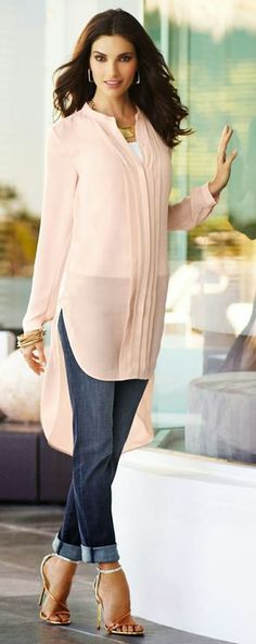 Great lengths: Who knew pink could cause such a stir? Pleating details and a high-low hem add drama. by selena Muslim Fashion, Modest Fashion, Hijab Fashion, Indian Fashion, Traje Casual, Look Fashion, Womens Fashion, Indian Wear, Casual Looks