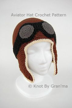 Aviator Hat Crochet Pattern by knotbygranma on Etsy