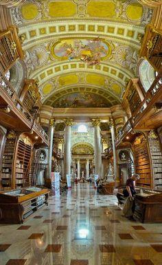 The Österreichische Nationalbibliothek (Austrian National Library) in Vienna, Austria. It was established in the 18th century.