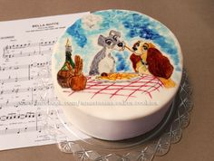 """Hand painted chocolate cake  """"Lady & the Tramp"""""""