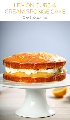 Lemon Curd & Cream Sponge Cake Recipe - this beautiful cake tastes as good as it looks, and is a fantastic twist on the traditional sponge cake filling. A wonderful dessert or special birthday cake.
