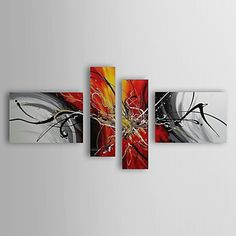 Abstract Oil Painting Hand-Painted Canvas Wall Art Other Artists Four Panels Ready to Hang – USD $ 129.99