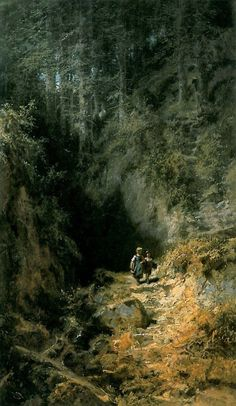 Carl Spitzweg children on a woodland path