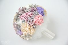 Pastel fabric flower wedding bouquet | Bukieteria