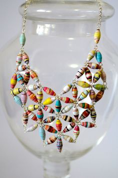 Statement Paper Bead Bib Necklace. This is really fun, its made out of magazine strips :) I used to make bracelets like this in Jr High!