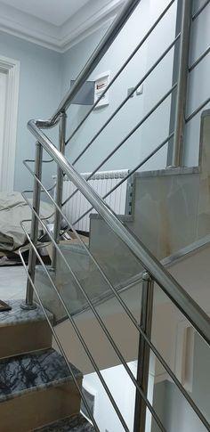 Steel Stair Railing, Stair Railing Design, Steel Stairs, Railings, Stainless Steel Railing, House, Home Decor, Stair Handrail, Saints