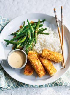 Ricardo& recipe: Crispy Tofu with Wafu Green Beans Tofu Recipes, Asian Recipes, Vegetarian Recipes, Healthy Recipes, Beans Recipes, Tofu Green Beans, Cooking Tofu, Cooking Pasta, Cooking Turkey