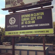 Billboard announcing new church campus.