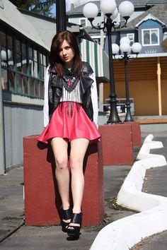 Ebay Red Skirt, Pleather Vest, Fringe Scarf, Heels