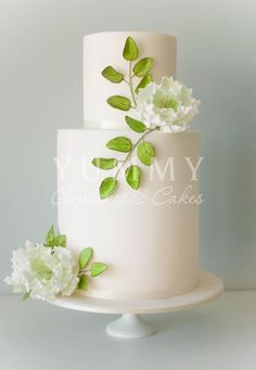 White Wedding Cakes With Green Flowers - The Wedding Specialists