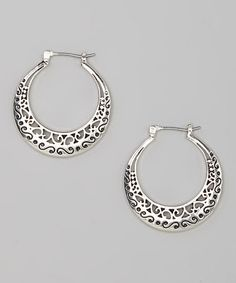 Loving this Antique Silver Cutout Hoop Earrings on #zulily! #zulilyfinds