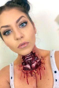 Horror Halloween Neck Makeup Ideas, Styles & Looks 2018 - Idea Halloween Horror Makeup, Zombie Makeup, Scary Makeup, Normal Makeup, Media Makeup, Makeup Art, Makeup Ideas, Maquillage Halloween Zombie, Gory Halloween Makeup