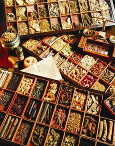 Wooden boxes with various dried herbs in an ancient herbalist shop. Healing Herbs, Medicinal Plants, Natural Healing, Natural Medicine, Herbal Medicine, Spices And Herbs, Kitchen Witch, Drying Herbs, Wicca