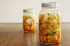 Kimchi. This turned out really well, but needed more salt than I thought to make the cabbage wilt. There is also a lot of pressure in the jars when you first open them so open them in the sink to avoid being sprayed with kimchi juice.