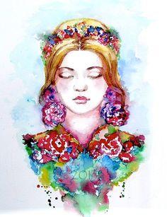 Original Watercolor Bohemian Fashion Illustration by Lana Moes