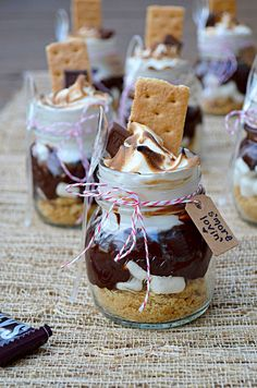 Mason Jar Wedding Reception Decorations | mores Treats in Mini Mason Jars (great for party favors, wedding ...
