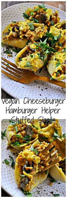 "These vegan stuffed shells are filled with a vegan ""cheeseburger"" mixture made from TVP, mushrooms and the best vegan cheese sauce of all time."