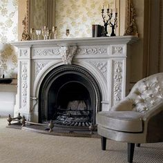 love the arch and the iron and slate flooring of this fireplace Candles In Fireplace, Home Fireplace, Fireplace Surrounds, Fireplaces, Closet Bedroom, Home Decor Bedroom, Floors And More, Slate Flooring, Home Board