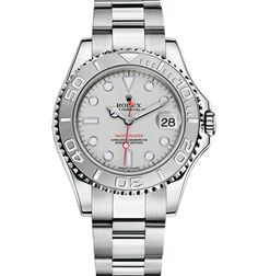 Rolex Yacht-Master 35 mm in 904L steel and platinum with a rotatable graduated bezel, platinum dial and Oyster bracelet.  176 Broadway, New York, NY 10038 (P) 212.732.0890  1118 Kings Highway, Brooklyn, NY 11229 (P) 718.375.1818