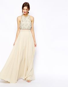 ASOS Maxi Dress With Embellished Crop Top. Surprisingly pretty for a bridesmaid dress?