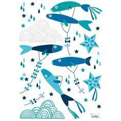 Ces stickers de la collection Koinobori by Soizic Gilibert pour Lilipinso apportent une touche colorée au décor d'une chambre d'un enfant.