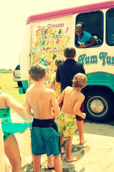 Ice cream truck at a birthday party